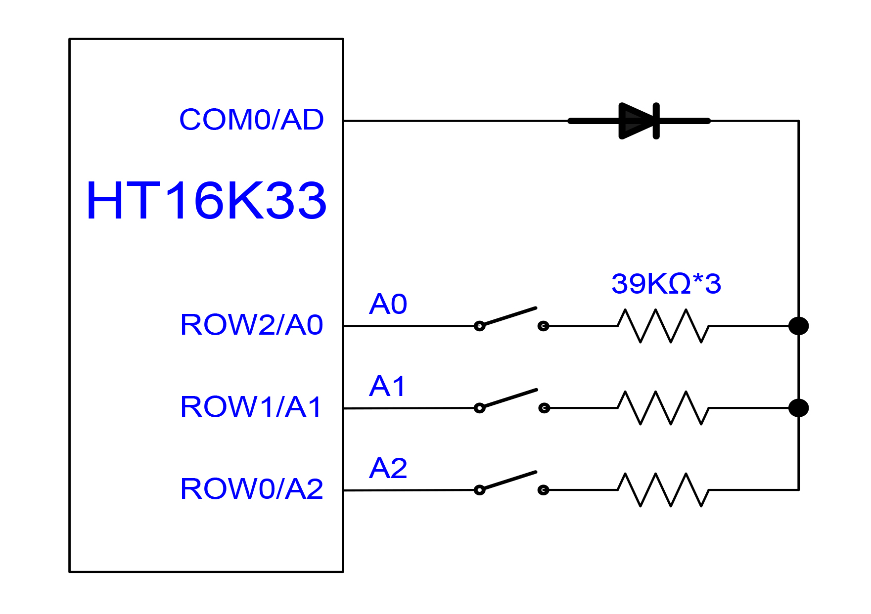 Controlling An Led Matrix With The Ht16k33 Parts Not Included Bicolour Flasher Circuit Electronics Project Address Bits Are Set In Hardware By Wiring 39k Resistors Line A Diode To Connect Com0 Pin Either Row2 A0 Row1 A1