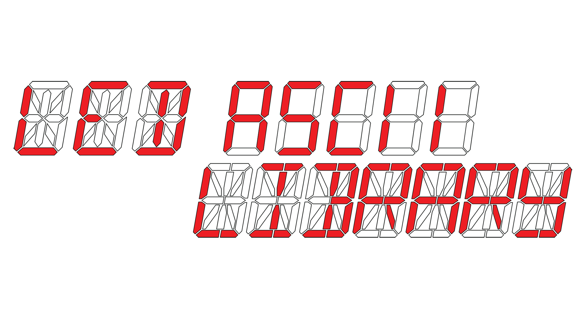 Segmented LED Display ASCII Library