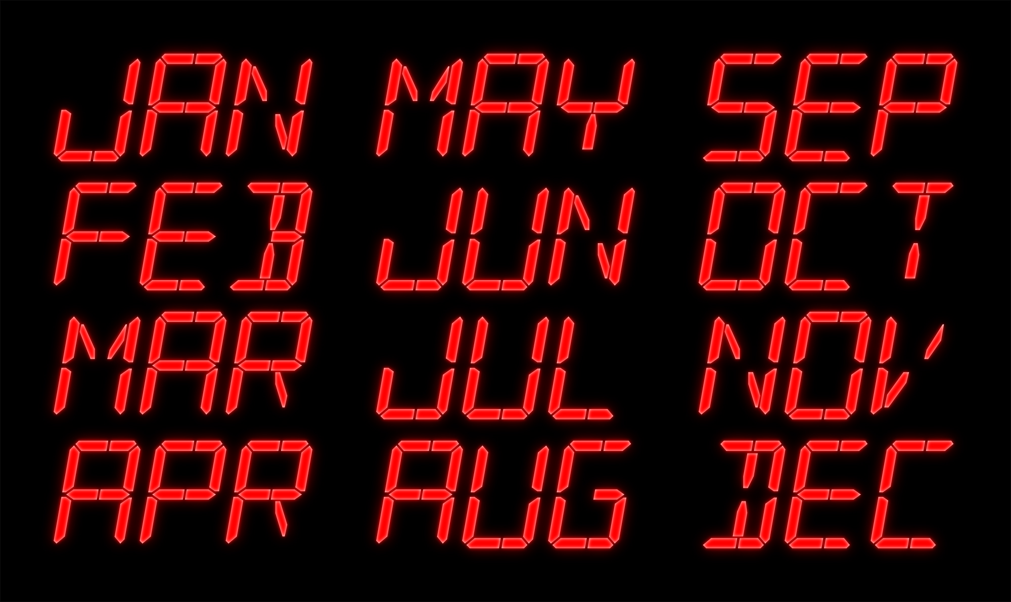 Time Circuit Display Led Characters Parts Not Included The Each Symbol Into 7segment It May Look Like This Month Abbreviations On 16 Segment Displays