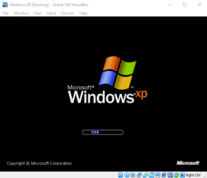 The Windows XP image booting in VirtualBox
